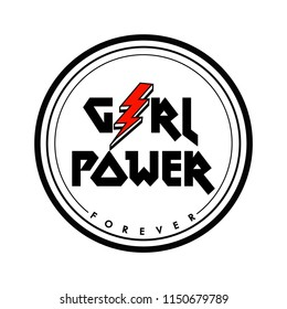 Girl Power print with red lightning symbol, rock and roll t shirt print in vector.