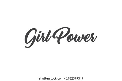 Girl power quote feminist lettering. Calligraphy inspiration graphic design typography element. Hand written card. Simple vector Female sign.