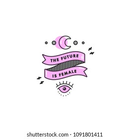 Girl power quote. Icon set fashion symbol with moon, eye and ribbom with motivation quote. Vector doodle illustration. Feminism slogan. Vector poster or card