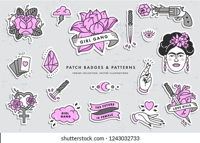 Girl power quote. Icon set fashion symbol with portrait of Frida Kahlo, diamond, roses and feminine symbols. Patch badges. Vector stickers, pins. Feminism slogan. Woman right