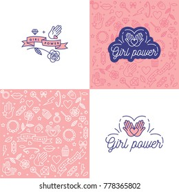 Girl power quote. Icon set fashion symbol  with star, diamond, lips and jewelry. Vector doodle illustration. Feminism slogan. Vector pattern. Woman right
