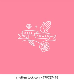 Girl power quote. Icon set fashion symbol  with star, diamond, hand and flower. Vector doodle illustration. Feminism slogan. Vector poster or card