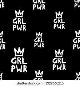 Girl power seamless pattern. Feminist vector illustration. Isolated on black background.