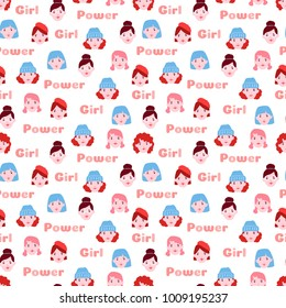 Girl power seamless vector pattern. Cute girl faces in cartoon style