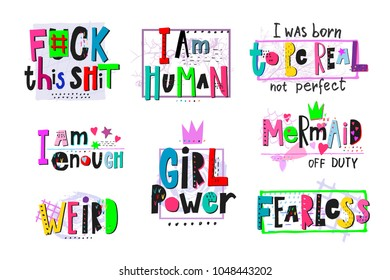 Girl power shirt quote feminist lettering. Calligraphy inspiration graphic design typography element. Hand written card. Simple vector sign. Protest against patriarchy sexism misogyny female