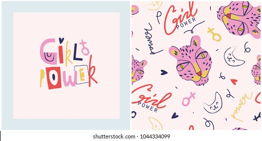 """Girl Power"" sign and funky pattern."