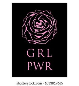 Girl power slogan on black background with rose outline silhouette. Women activists movement logo with typography. Trendy stylish pink and black color combination. For card, flyer, placard, banner.