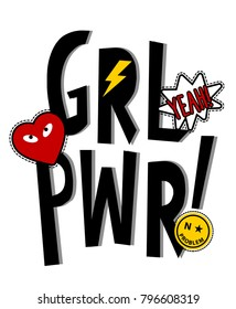 girl power slogan and patches vector.