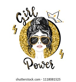 Girl power slogan vector print. For t-shirt or other uses,T-shirt graphics / textile graphic