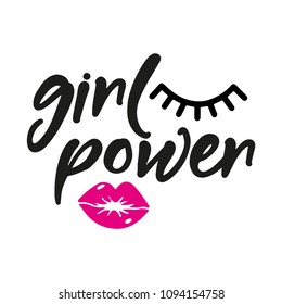 Girl power - subtitle whit pink lips. Vector illustration phrase. Hand drawn lettering text for printing press (poster, banner, t-shirt, mug, gift... feminism quote and woman motivational slogan.