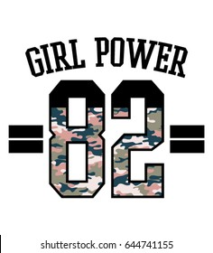 Girl power text with camouflage print.Varsity print in vector.