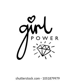 Girl power text and diamond drawing / Vector illustration design for t shirt graphics, prints, posters, stickers, cards and other uses.