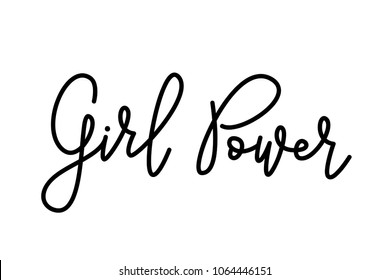 Girl Power text . Monoline calligraphy script. Cute design for print woman shirt. Feminism slogan. Vector illustration Graphic printed tee