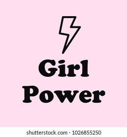 """Girl Power"" Text with Ray Power Symbol"