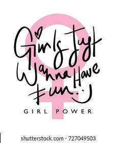 Girl power typography / Textile graphic t shirt print vector design