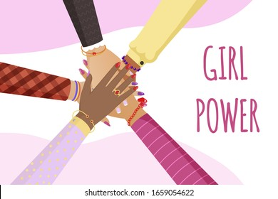 Girl power vector banner template. Women in different races putting hands together in circle cartoon illustration with typography. Feminism, women rights, unity and solidarity flat concept.