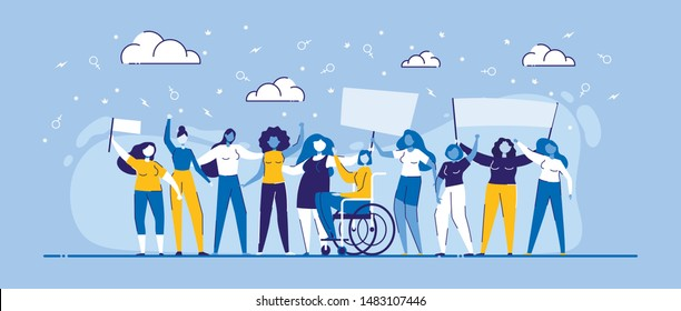 Girl Power Vector Illustration. Cartoon Women Different Race, Body Type, Standing with Streamer. Feminist Movement Demonstration. Multiethnic Multiracial Diversity Equality. Feminism Rights Fight