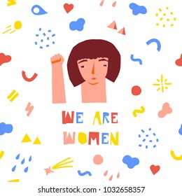 Girl Power vector illustration with feminism quotes and female motivational slogan. International woman day 8 march design for poster or card.
