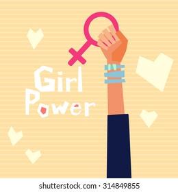 Girl power vector illustration in flat style.  Feminism symbol.