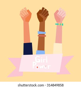 Girl power vector illustration in flat style.  Feminism symbol.
