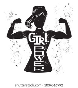 Girl power. Vector lettering illustration with black female silhouette doing bicep curl and hand written inspirational phrase and grunge texture. Motivational card, poster or print design.