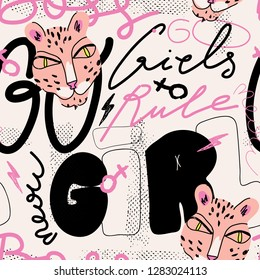 Girl power vector pattern with leopard illustration. Fashionable template for design. Graffiti style.