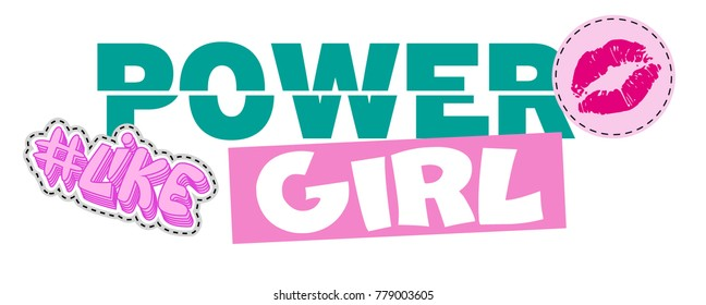 Girl Power Vector Print Design Pink for t-shirt.