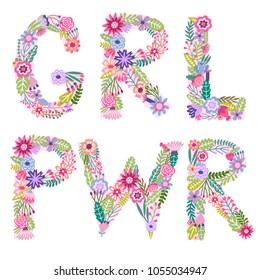 Girl power vector print. Feminism lettering