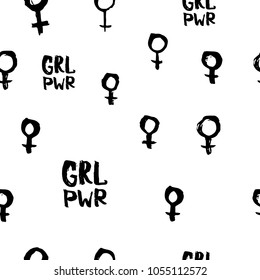 Girl power venus feminist lettering seamless pattern. Calligraphy inspiration graphic design typography textile element. Hand drawn card. Simple vector sign. Protest patriarchy sexism misogyny female
