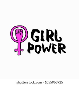 Girl power venus fist shirt quote feminist lettering. Calligraphy inspiration graphic design typography element. Hand written card. Simple vector sign Protest against patriarchy sexism misogyny female