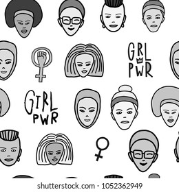 Girl power woman face feminist seamless pattern. Hand drawn People of color religion inspiration graphic design typography Simple vector textile element Protest patriarchy sexism misogyny female voice