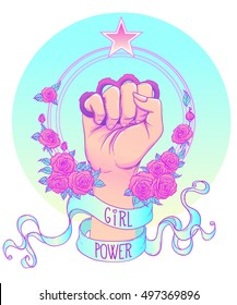 Girl Power. Woman's hand with brass knuckles. Fist raised up. Feminism concept. Realistic vector illustration in pastel gothic colors.
