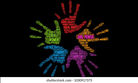Girl Power word cloud on a black background.