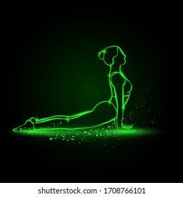 Girl practices yoga in cobra pose. Vector green neon Urdhva mukha svanasana illustration.