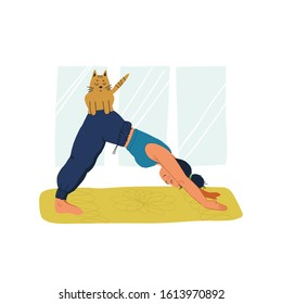 Girl practises downward-facing dog asana at home and her cat sits on her at the moment on her back. Fun and trendy hand drawn style vector colorful illustration on isolated background.