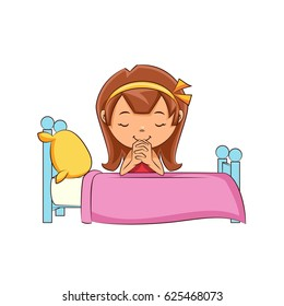 Girl praying bed