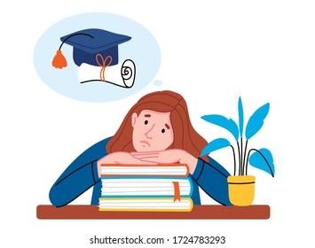 The girl is preparing for the exam. The student is worried about entering the university. The student is thinking about the future.Concept of finishing school and starting adult life.