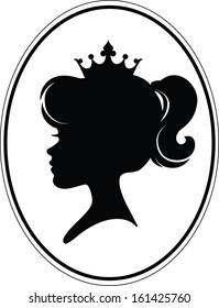 Girl Princess Silhouette On White Background. Silhouette of a girl and a crown on a different layers