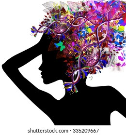 Girl profile with floral hairstyle. Vector