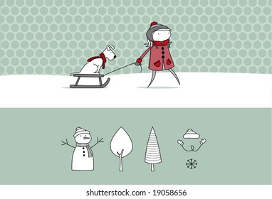 Girl pulling along a sledge with a dog