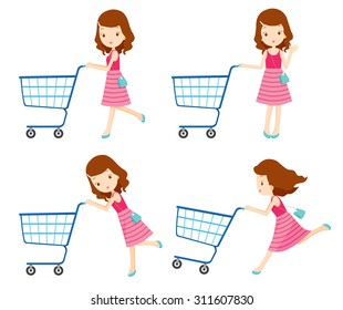 Girl pushing empty shopping carts with various actions set, goods, food, beverage, beauty, lifestyle