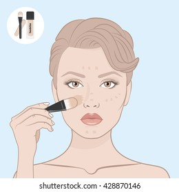 Girl put the foundation on her face. Scheme of correctly applying the foundation on the face. Directional arrows. Female face, bare shoulders and hand with brush for make-up. Beauty woman face