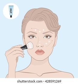 Girl put the primer on her face. Scheme of correctly applying the primer on the face. Directional arrows. Female face, bare shoulders and hand with brush for make-up. Woman face and primer tube.