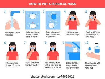 Girl is putting on mask to prevent virus. Illustration of steps, how to wear surgical mask. Instruction vector of washing of hands. Prevention of corona-virus.