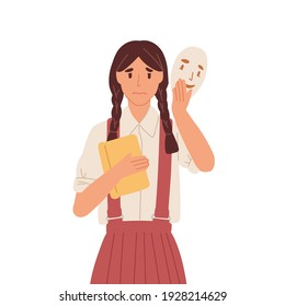 Girl putting on social face mask with fake positive emotion to hide real sad feelings behind it. Unhappy person disguising fear. Colored flat vector illustration isolated on white background