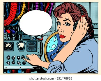 Girl radio space communications with astronauts pop art retro style. The mission control center. Manager flights. Science fiction space and planets