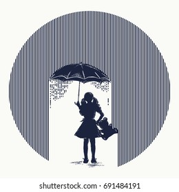 Girl in rain tattoo. Symbol of protection of children, depression. Girl with umbrella costs in rain t-shirt design. Minimalism art. Symbol of psychology, philosophy, stress, autumn