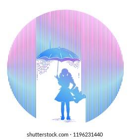 Girl in rain tattoo. Symbol of psychology, philosophy, protection of children, depression. Girl with umbrella costs in rain t-shirt design. Minimalism art