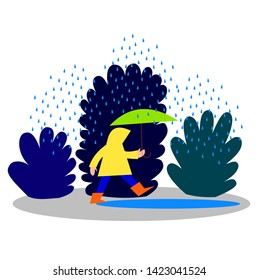 Girl in raincoat and umbrella walking in the rain