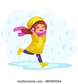Girl in raincoats and rubber boots playing in the rain. Children jumping and splashing through the puddles. vector cartoon illustration isolated on white background.